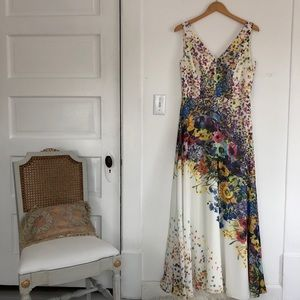 DAVID MEISTER white long floral dress painted 10